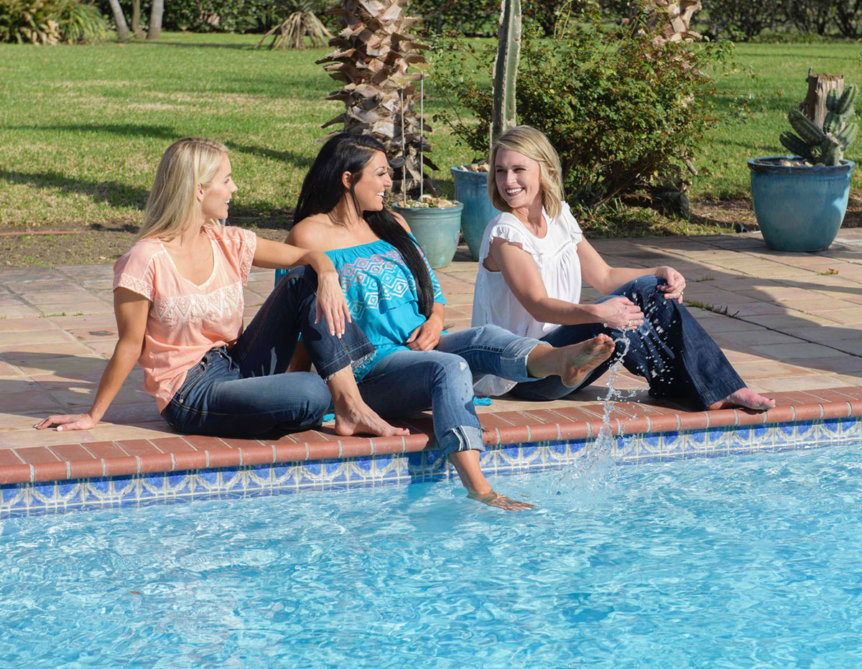 Women in Ariat Summer Clothes by Pool